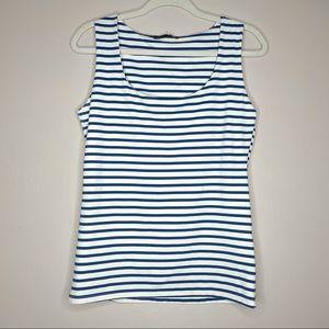 ZARA || white blue striped stretchy tank top large